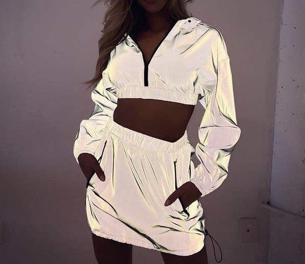 Flash Reflective Hooded Skirt 2 Piece Set
