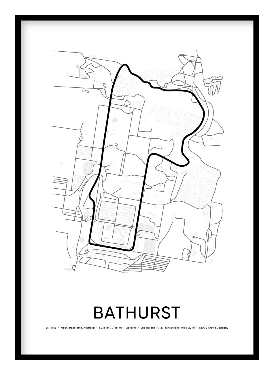 Bathurst Mount Panorama Race Track Poster Hidden Prints