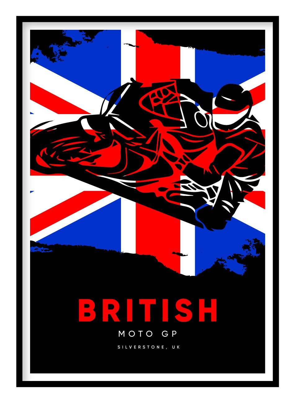 British Moto GP Poster Hidden Prints