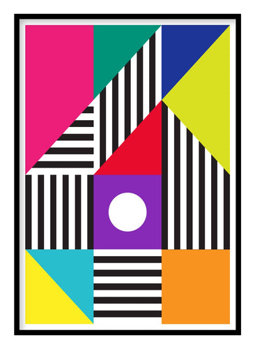 Colour Blocks Retro Poster Hidden Prints