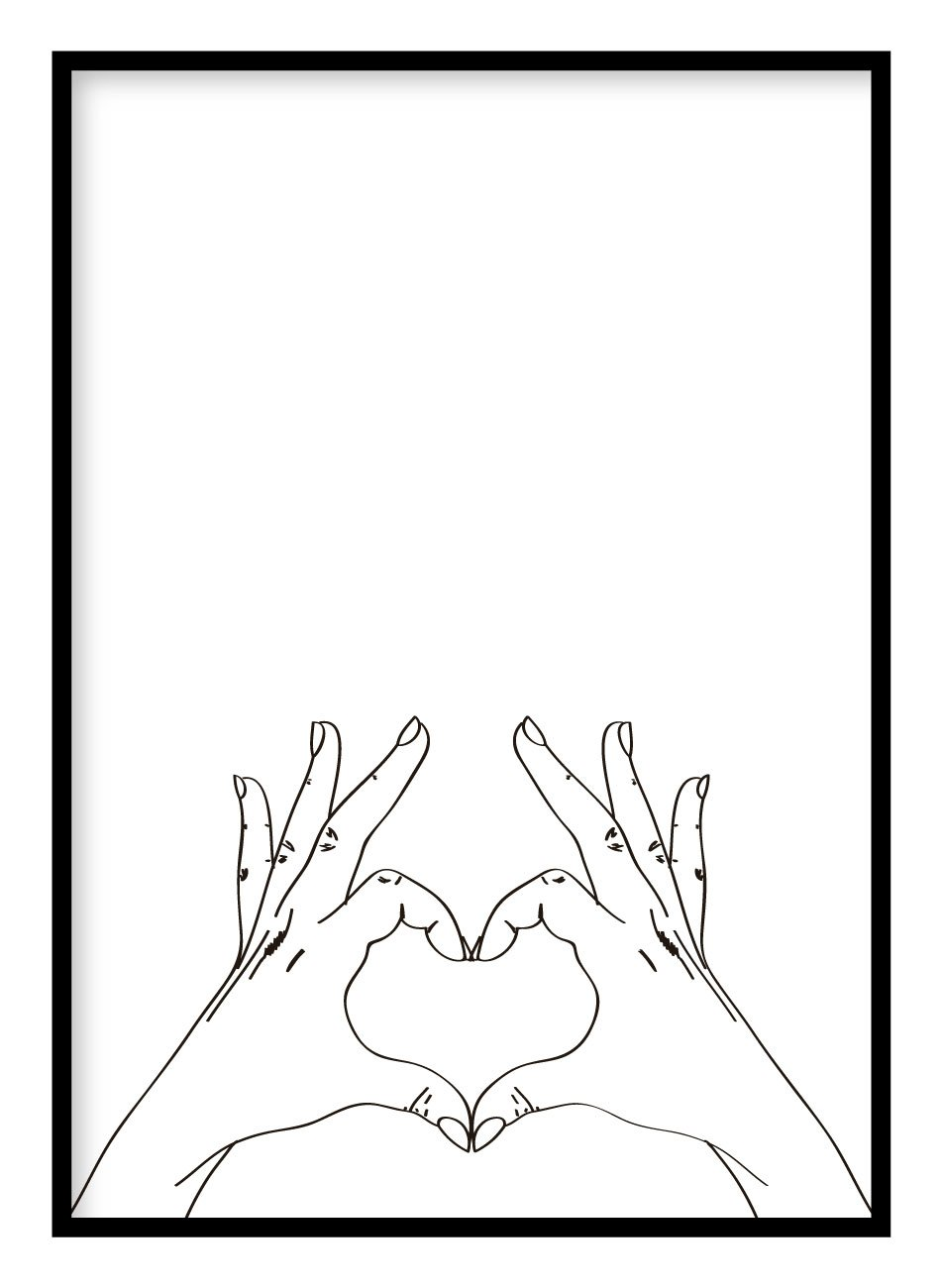 Heart Hands Poster Hidden Prints