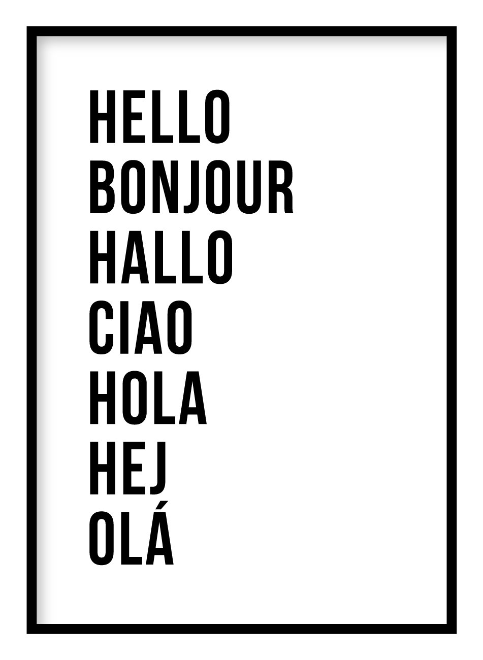 Hello 7 Languages Poster Hidden Prints
