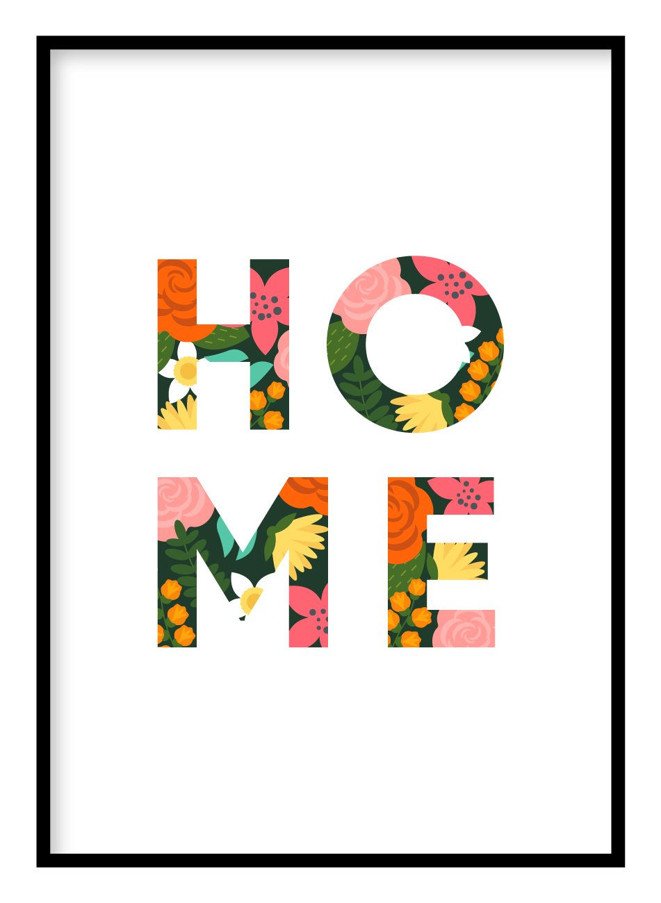 Home Floral Poster Hidden Prints