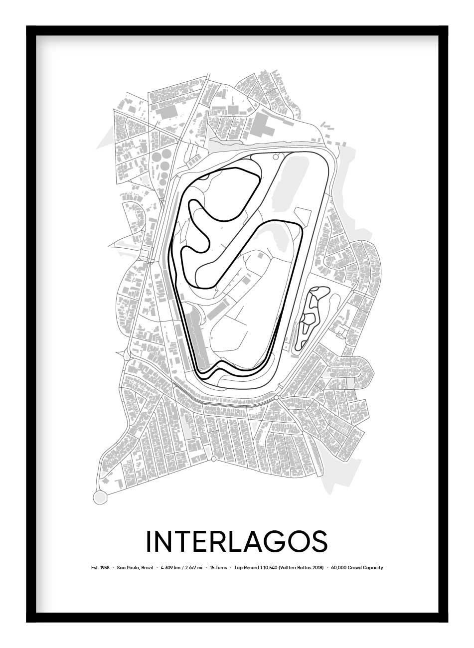 Interlagos Race Track Poster Hidden Prints