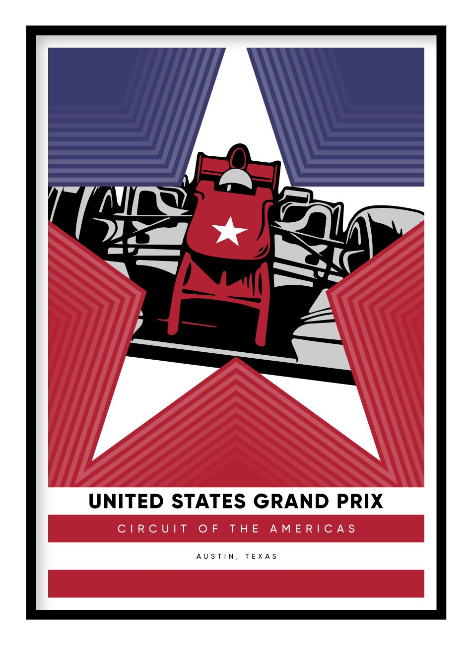 United States Grand Prix Poster Hidden Prints