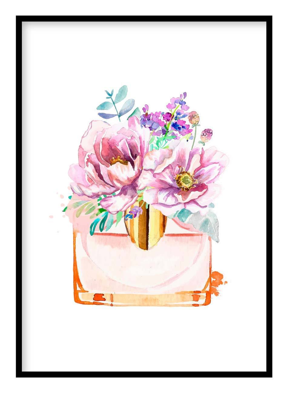 Watercolour Flowers Poster Hidden Prints