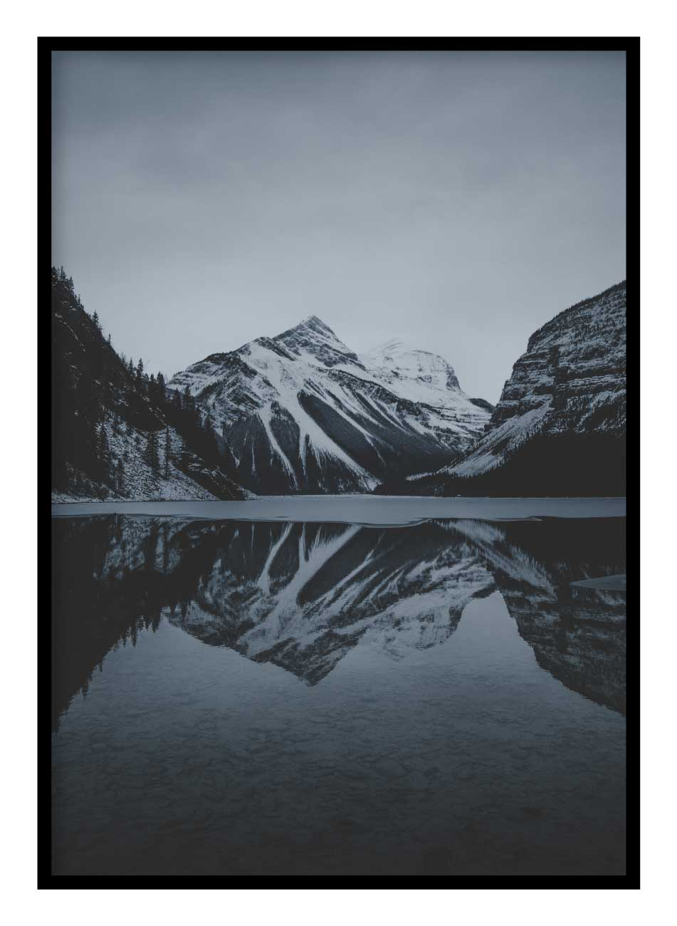 Winter Mountain & Lake Poster Hidden Prints