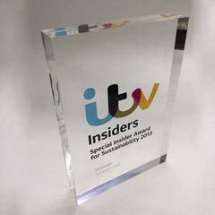itv clear acrylic plaque