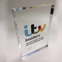 Clear acrylic bespoke award with high res coloured graphics