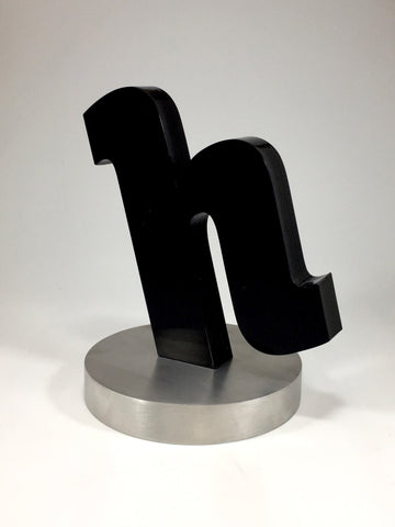 acrylic black h award on silver base