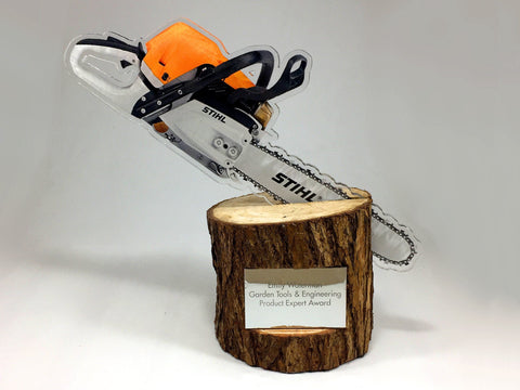Acrylic Chainsaw and Log Award