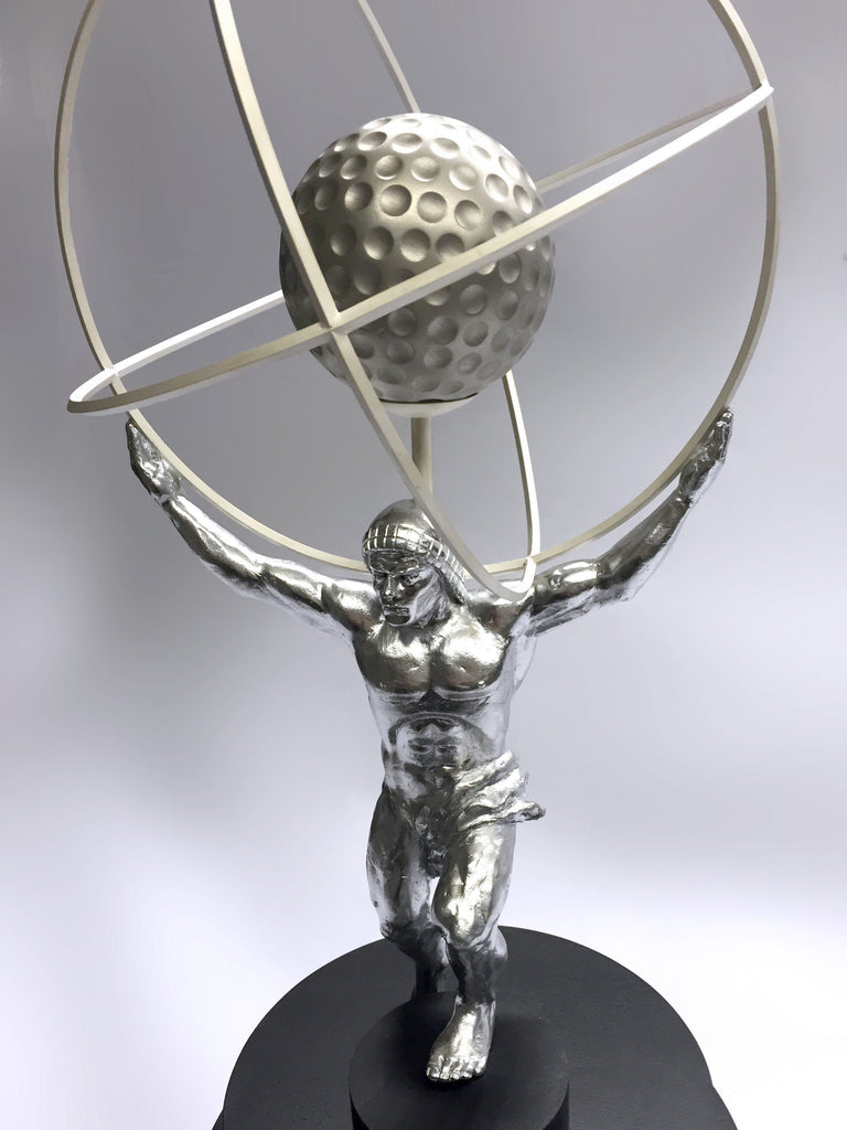 Close up sculpted Atlas award with Rings Creative Awards
