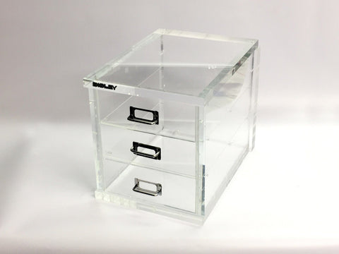 Clear acrylic Bisley filling cabinet by Creative Awards