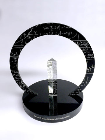 Bespoke black circular acrylic and glass award