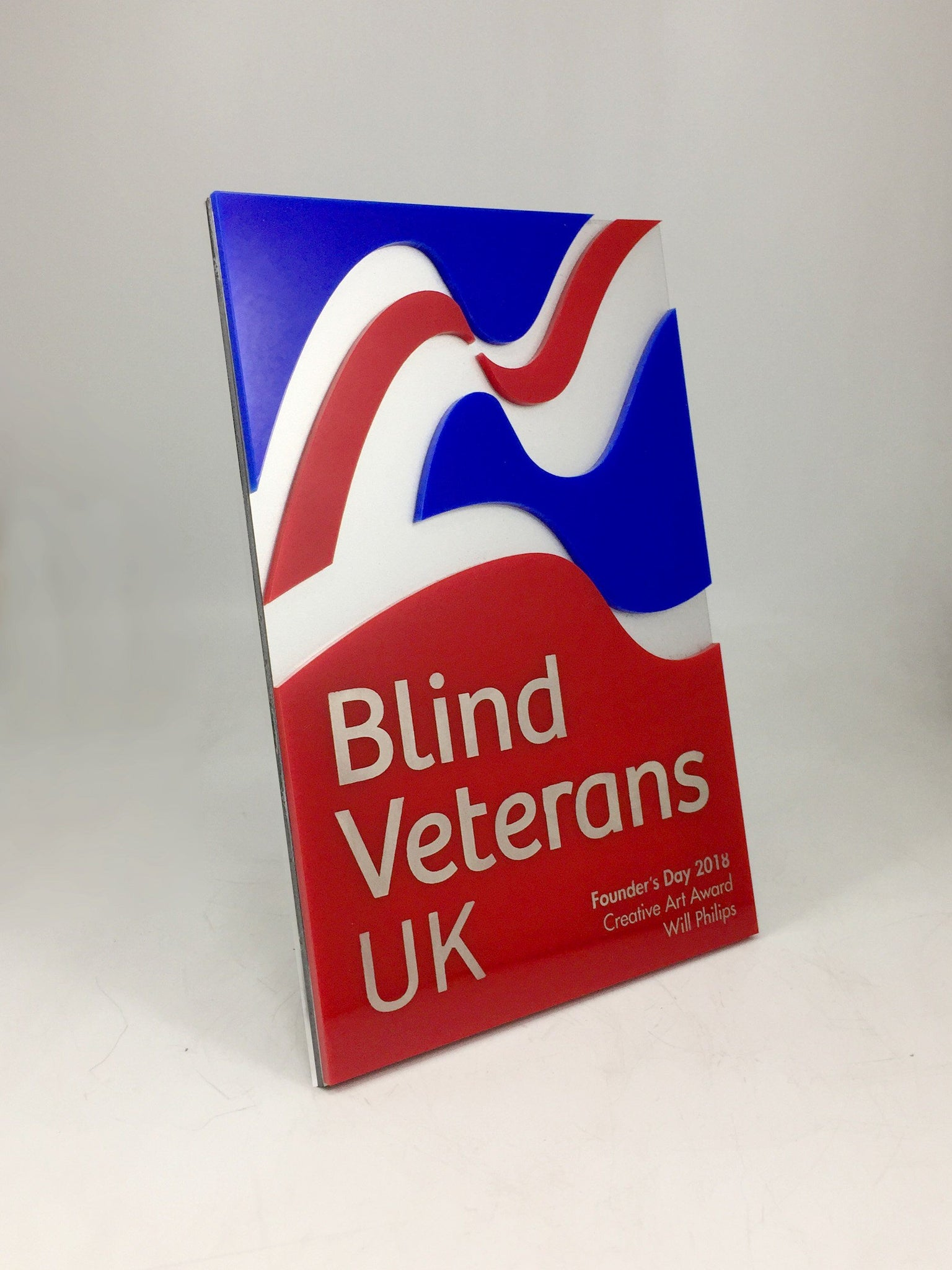 Blind Veterans UK Laminated Acrylic Award Bespoke Acrylic Awards Creative Awards