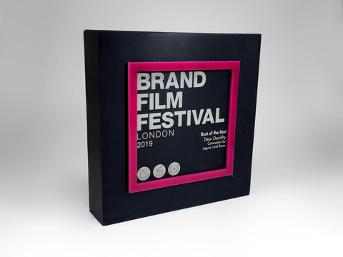 Brand Film Festival Black Aluminium Block with Pink Perspex Award Bespoke Mixed Media Awards Creative Awards