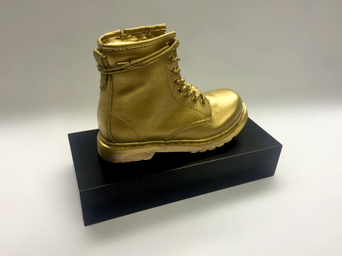 Side view of golden resin boot by Creative Awards