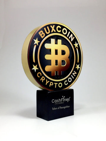 Gold Crypto Coin Award Bespoke Mixed Media Awards Creative Awards