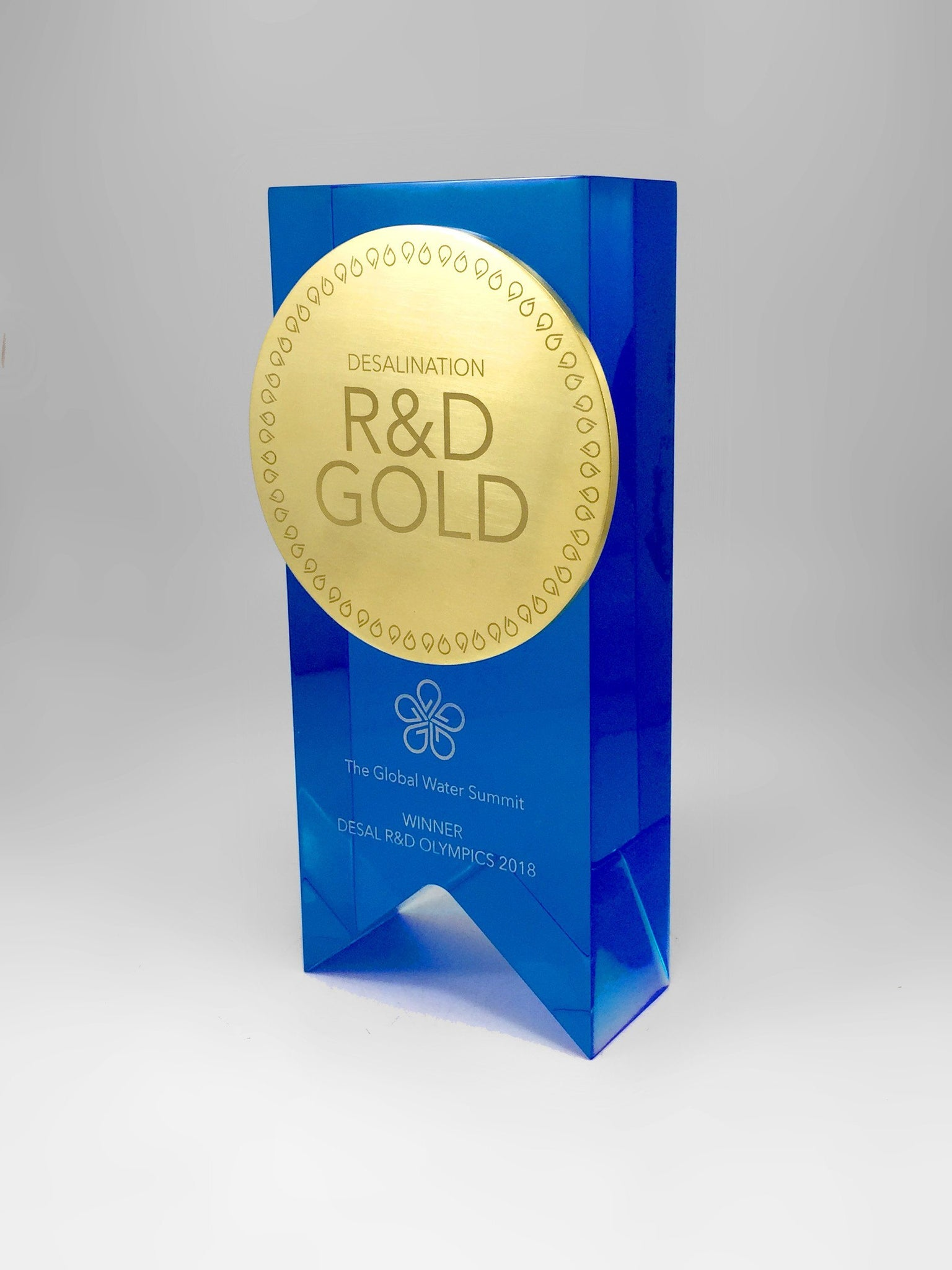Gold and Blue Acrylic Water Award Bespoke Mixed Media Awards Creative Awards