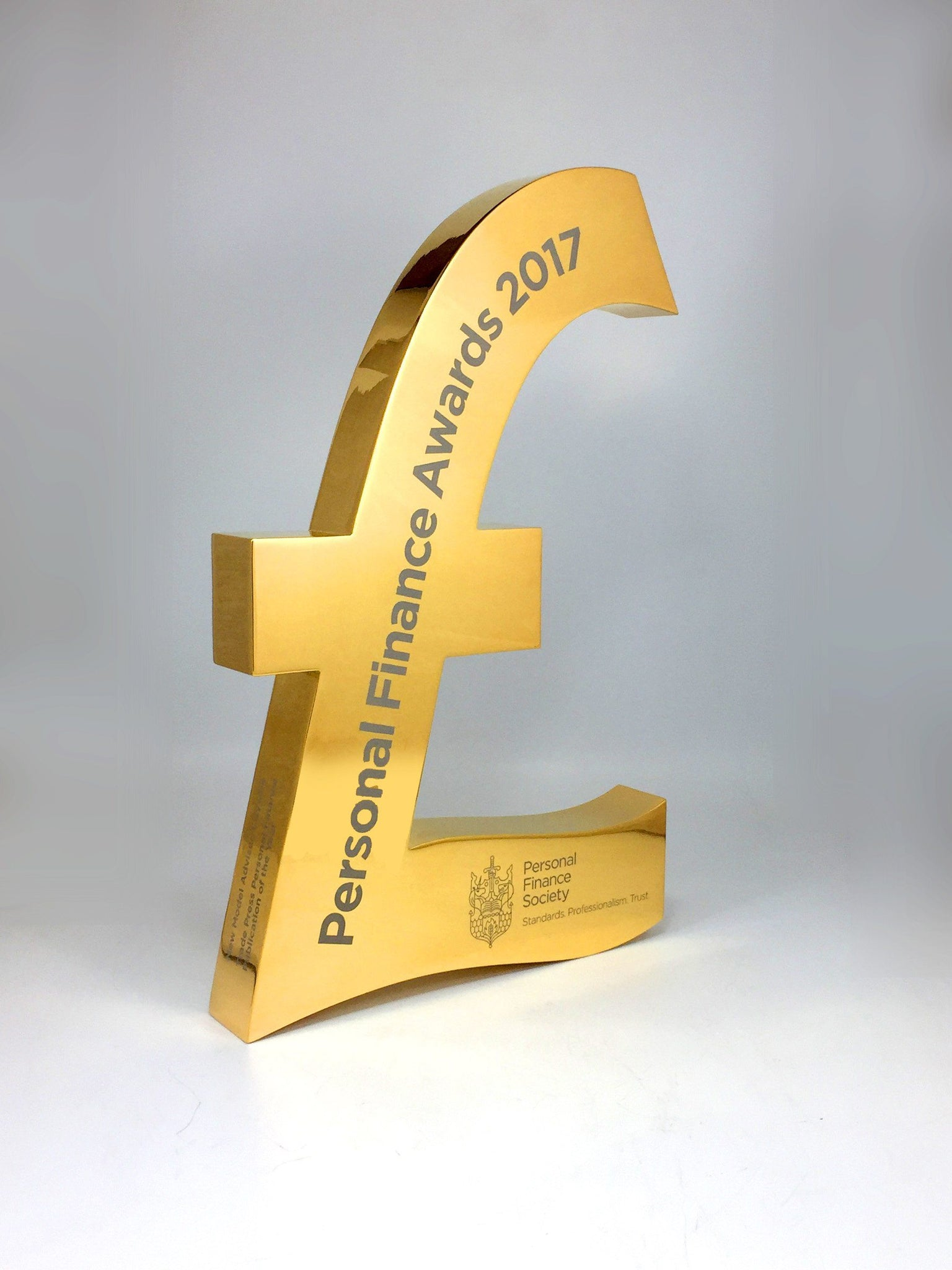 Gold Pound Sign Award Bespoke Metal Award Creative Awards