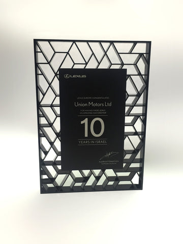 Bespoke acrylic plaque in black by Creative Awards