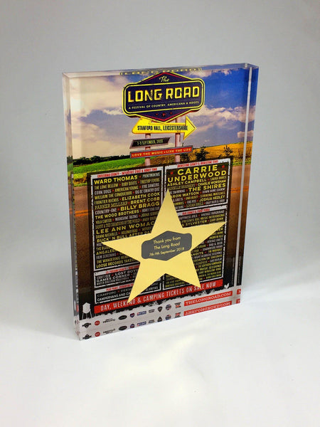 The Long Road Festival Acrylic Block with Star Bespoke Mixed Media Awards Creative Awards