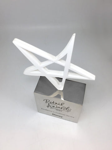 White Acrylic Star on Aluminium Base Award Bespoke Mixed Media Awards Creative Awards