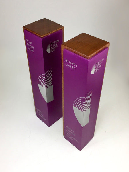 Purple Column with Wood Award Bespoke Mixed Media Awards Creative Awards