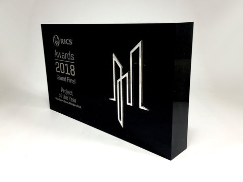 RICS Black Acrylic Block with Flash Award Bespoke Mixed Media Awards Creative Awards