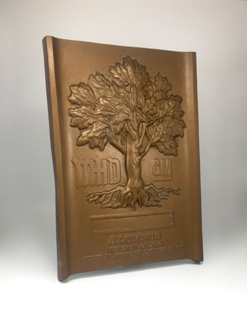 Customised wall plaque side shot Creative Awards