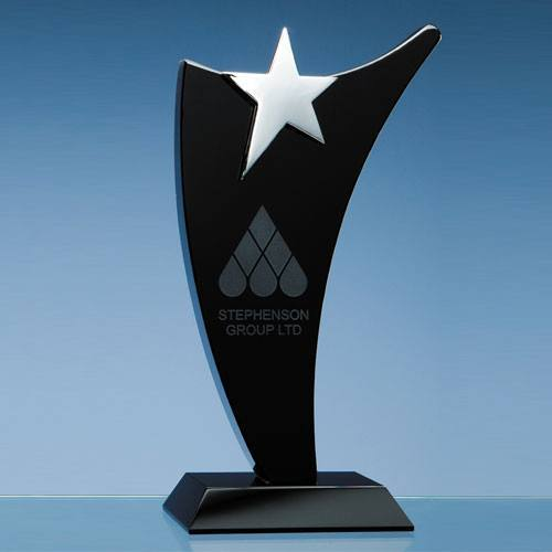 Black Optic Swoop Award with Silver Star Glass Awards Creative Awards