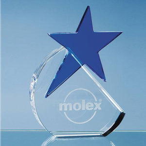 Crystal Circle with Blue Star Award Glass Awards Creative Awards