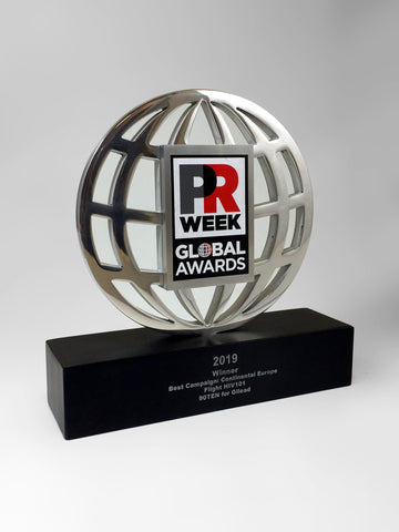 Silver Globe with Printed Logo Award Bespoke Mixed Media Awards Creative Awards