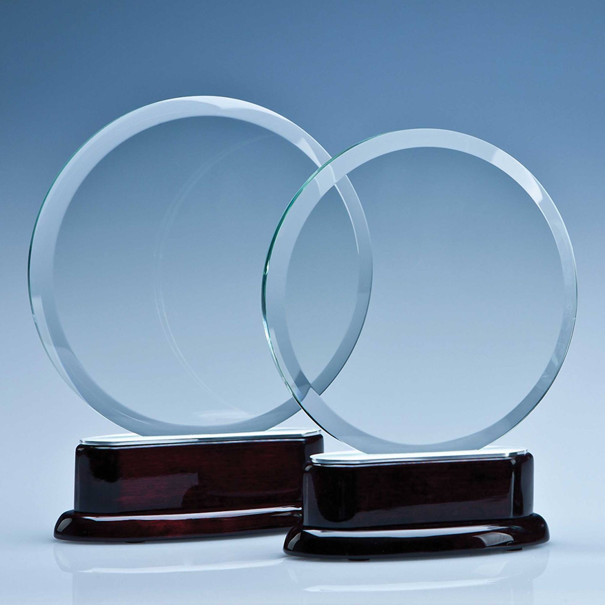 Circle on Rosewood Base Award Glass Awards Creative Awards