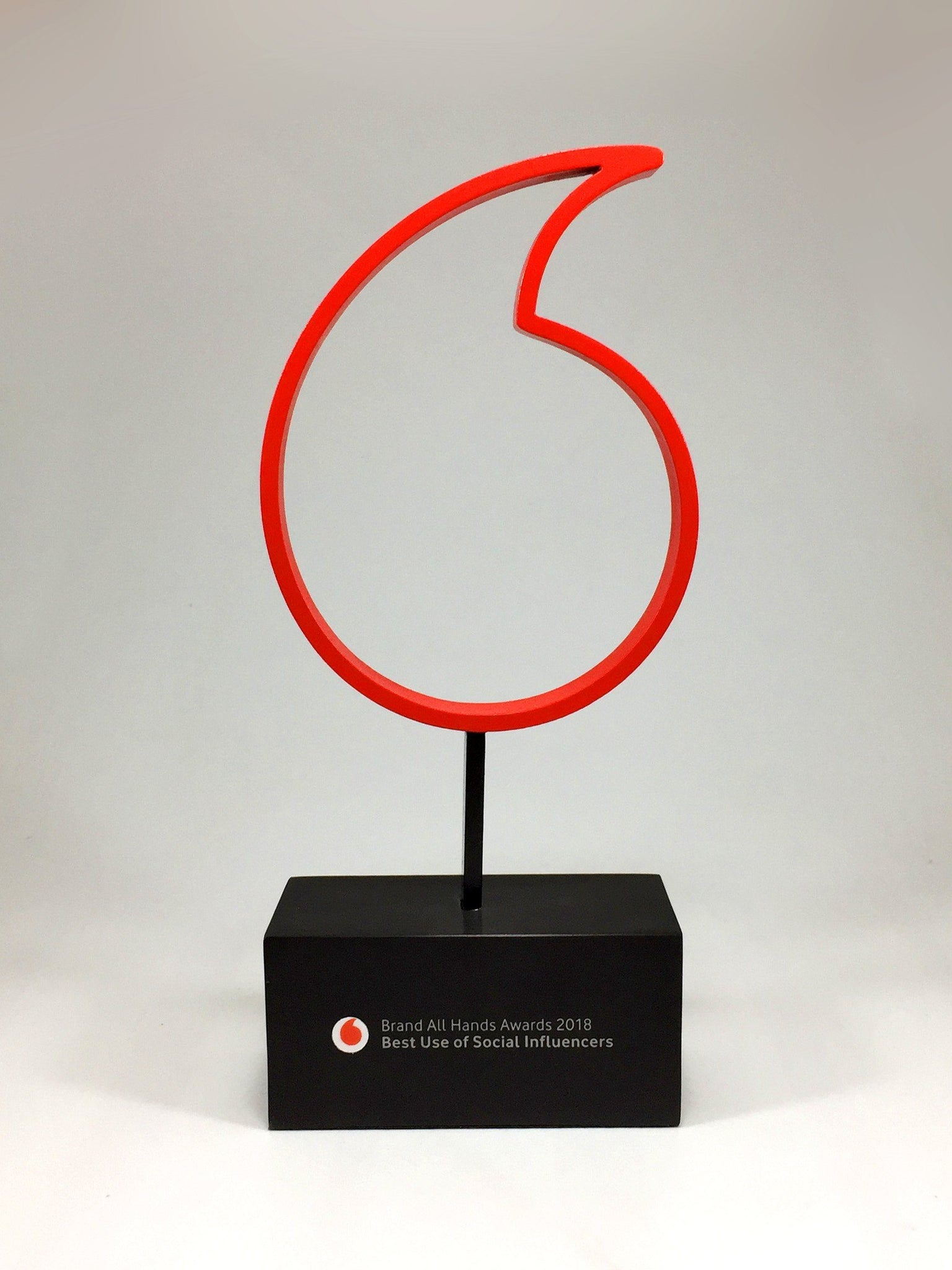 Red Vodafone Award Bespoke Metal Award Creative Awards