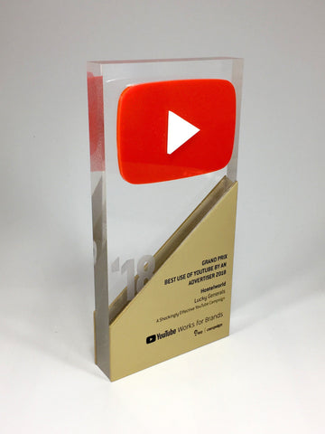 Youtube Laminated Red and Gold Acrylic Award Bespoke Acrylic Awards Creative Awards