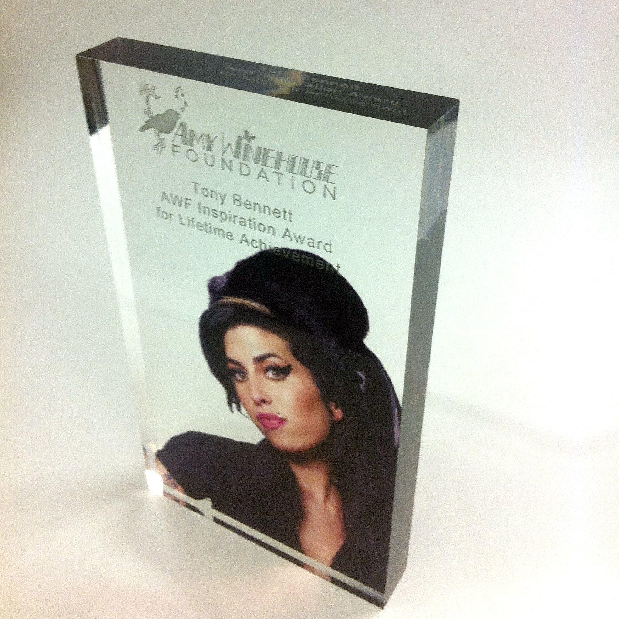 Amy Winehouse Foundation Acrylic Award Bespoke Acrylic Awards Creative Awards
