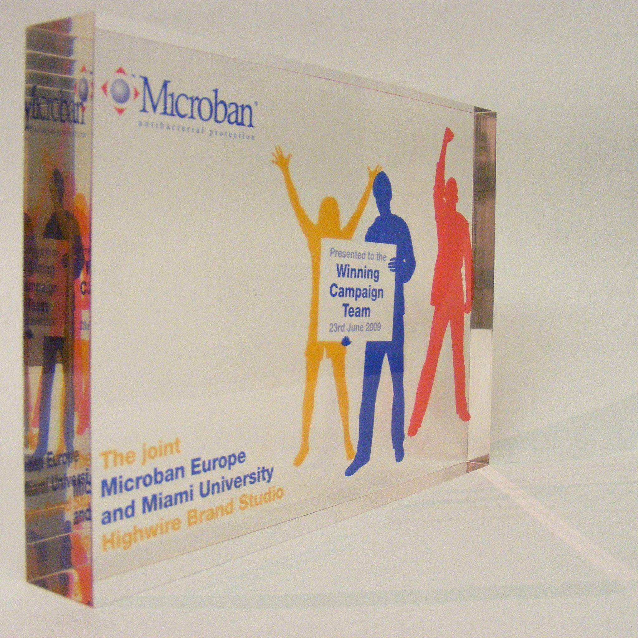 Microban Award Bespoke Acrylic Awards Creative Awards