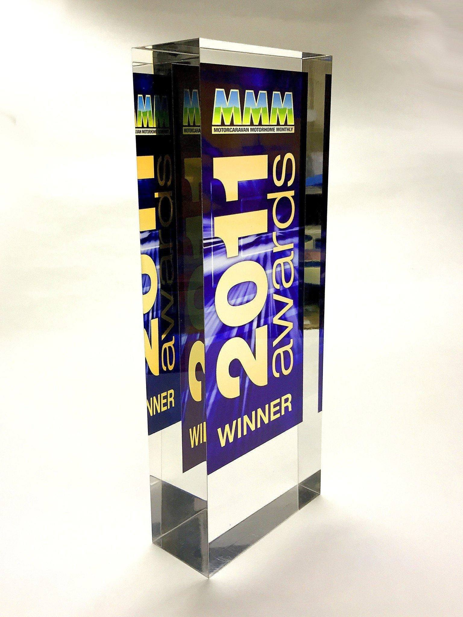 Motorcaravan Motorhome Monthly acrylic Award Bespoke Acrylic Awards Creative Awards