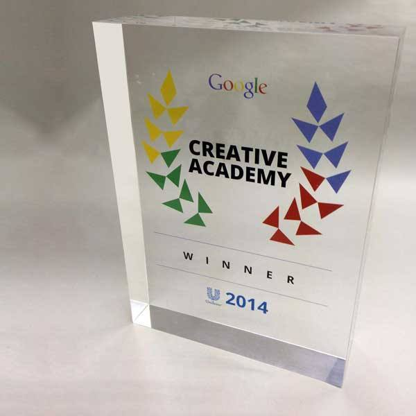 Google Creative Academy Acrylic Award Bespoke Acrylic Awards Creative Awards
