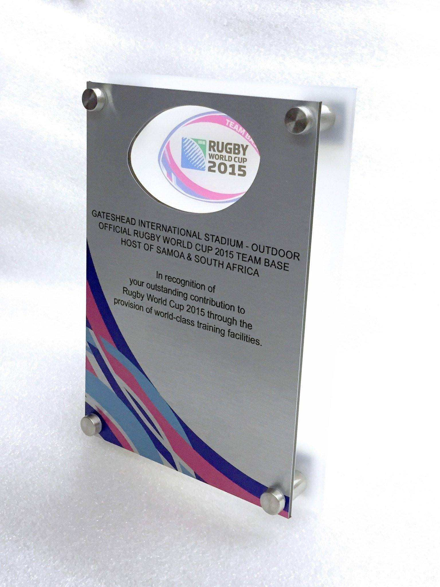 Rugby World Cup Plaque Bespoke Wall Plaques Creative Awards