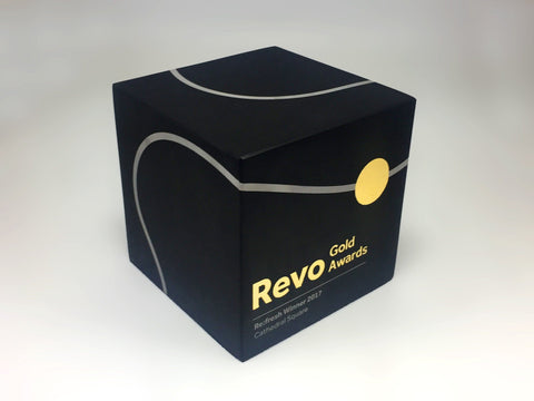 Bespoke metal cube in black and gold by Creative Awards