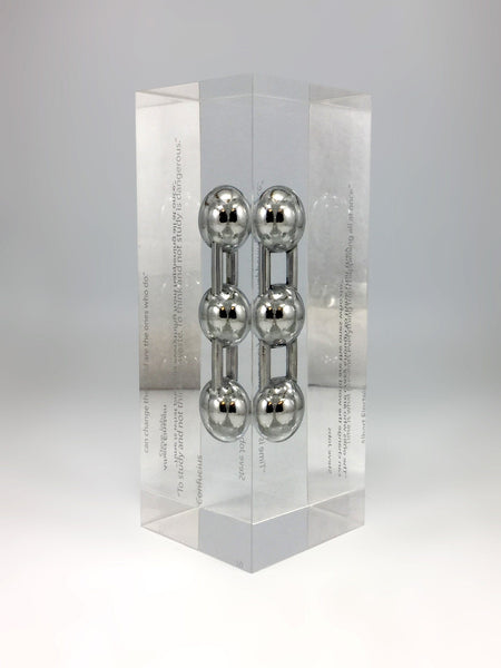 Silver Carbon Molecule Encapsulated in Clear Acrylic Award Bespoke Mixed Media Awards Creative Awards