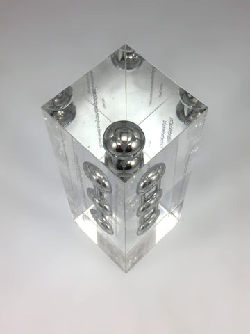 Top view silver acrylic bespoke award