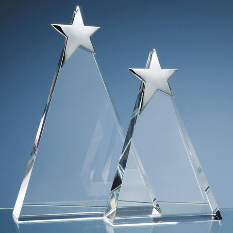 Triangle Award with Silver Star Glass Awards Creative Awards