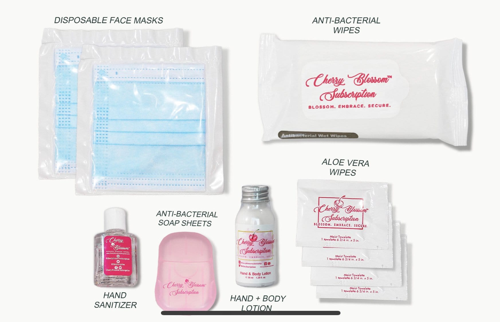 Travel Sanitizer Care Kit For Her - Cherry Blossom Subscription