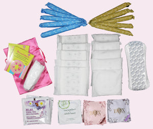 Cherry Blossom Subscription Mother Nature Mix (Both Pads & Tampons) Organic Feminine Hygiene Products organic pads and tampons cherry blossom subscription heat clicker playtime safe sex condoms delivered to your door cotton pads and Tampons