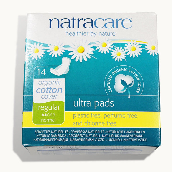 Natracare Natural Ultra Pads w/wings Regular w/organic cotton Cover - 14 Pack - Cherry Blossom Subscription