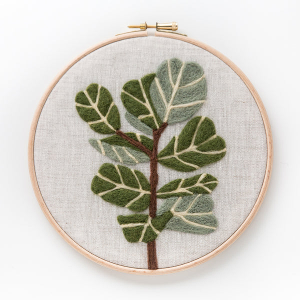 Fiddle-Leaf Fig modern needle felting kit - Hoop Art