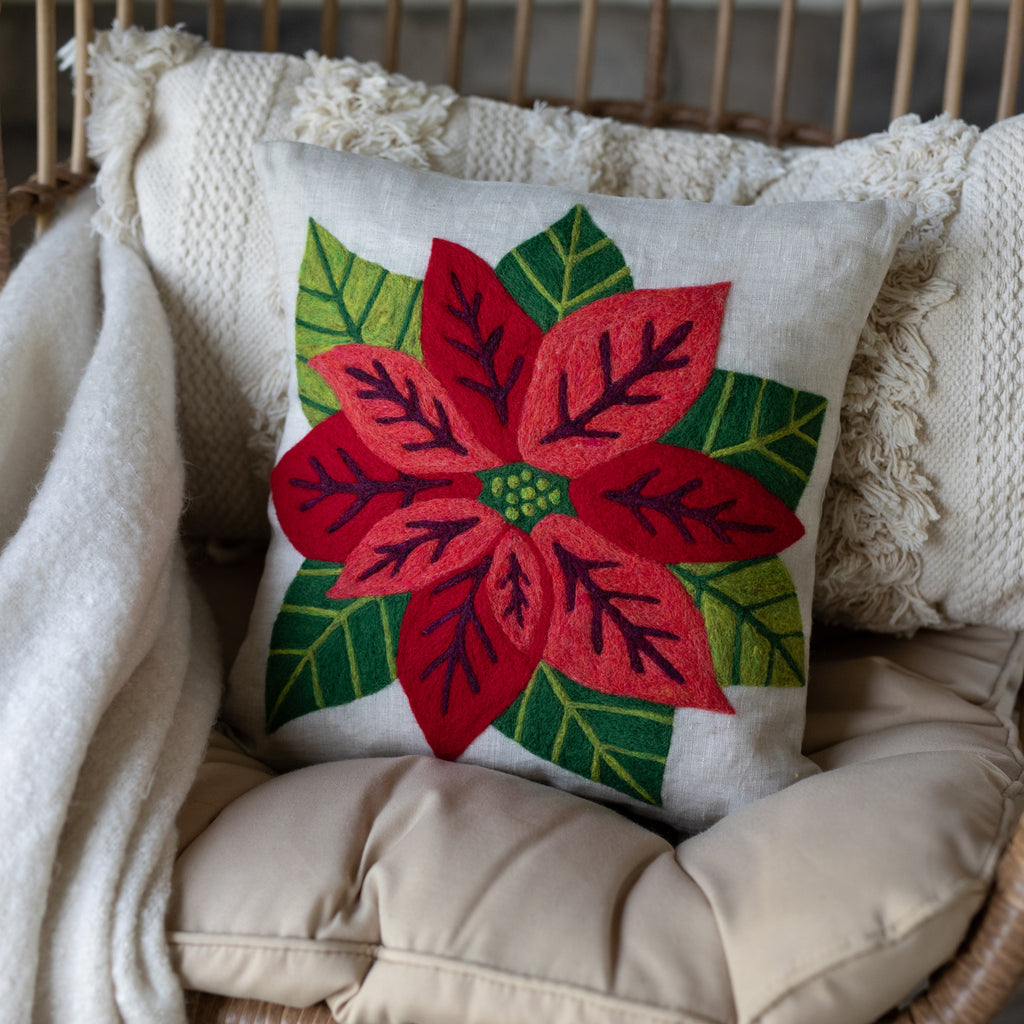 Poinsettia Pillow Cover Needle Felting Kit